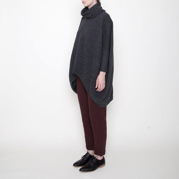 7115 by Szeki Cowl Neck Slouchy Sweater - Gray