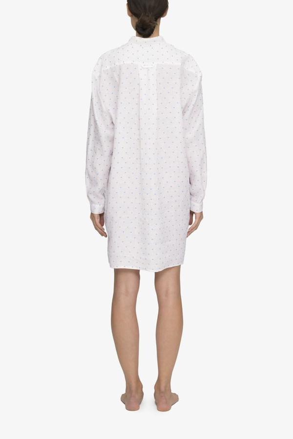 The Sleep Shirt Short Sleep Shirt Blue Tufts Linen