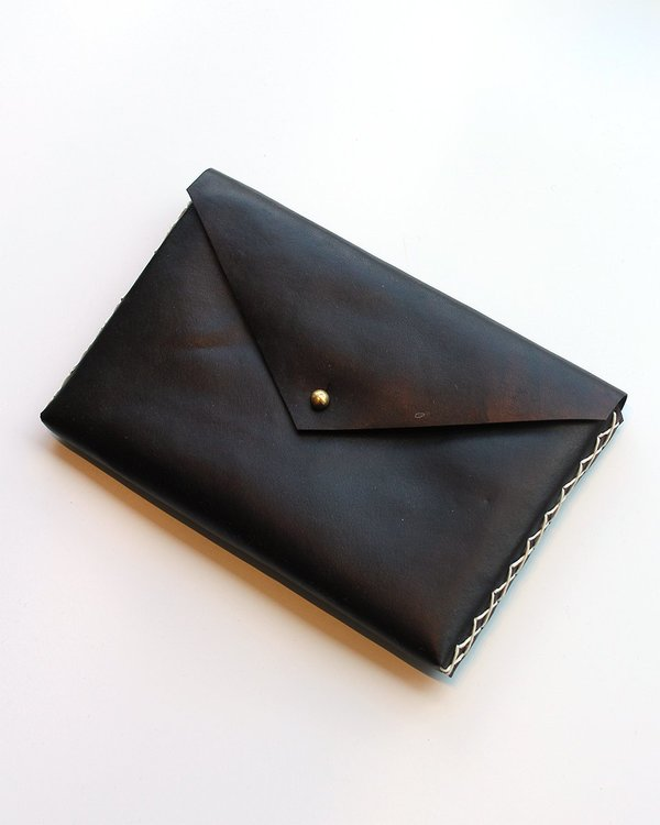 Ames Arrow Black Leather Clutch with Hand Strap