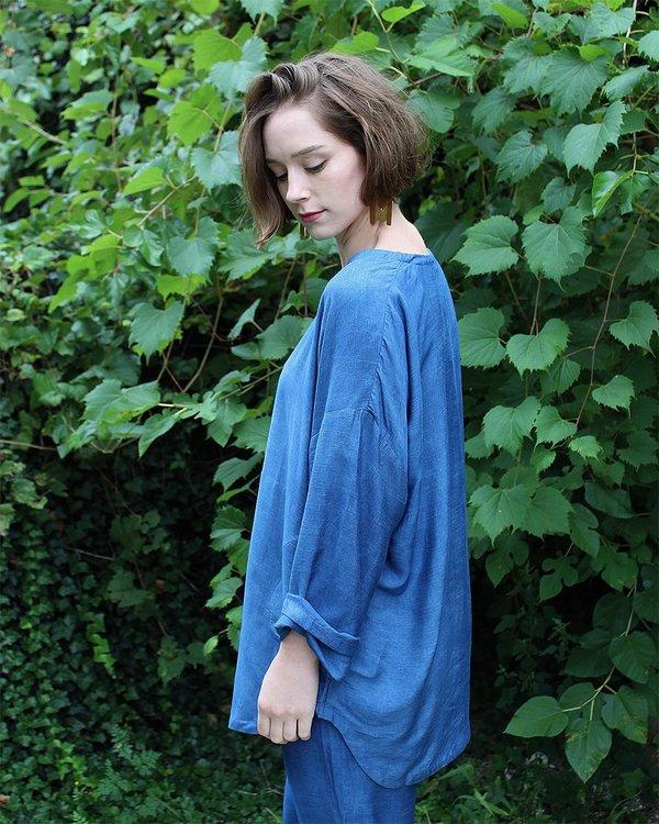 PO-EM Everyday Shirt in Indigo Silk