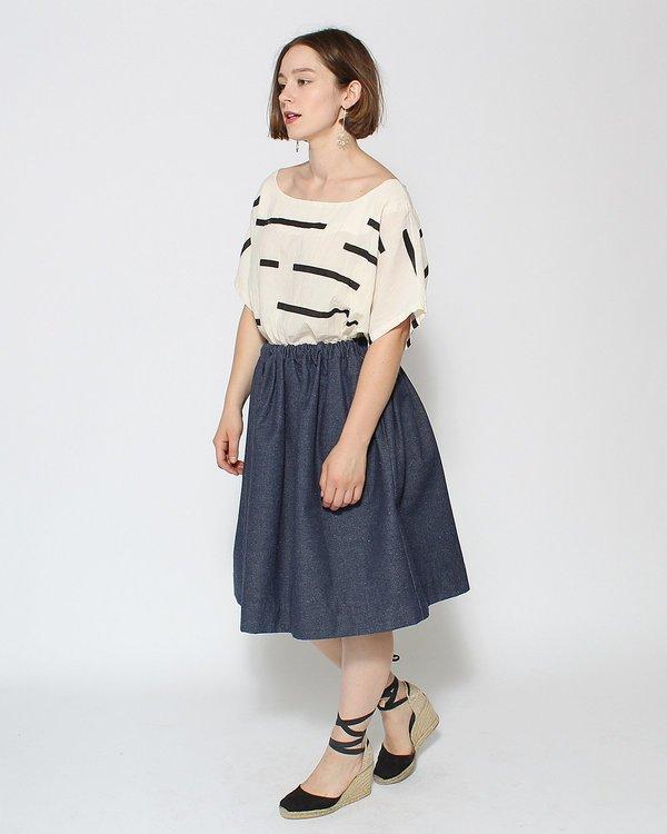 le vestiaire de jeanne uniform collection skirt blue denim garmentory. Black Bedroom Furniture Sets. Home Design Ideas