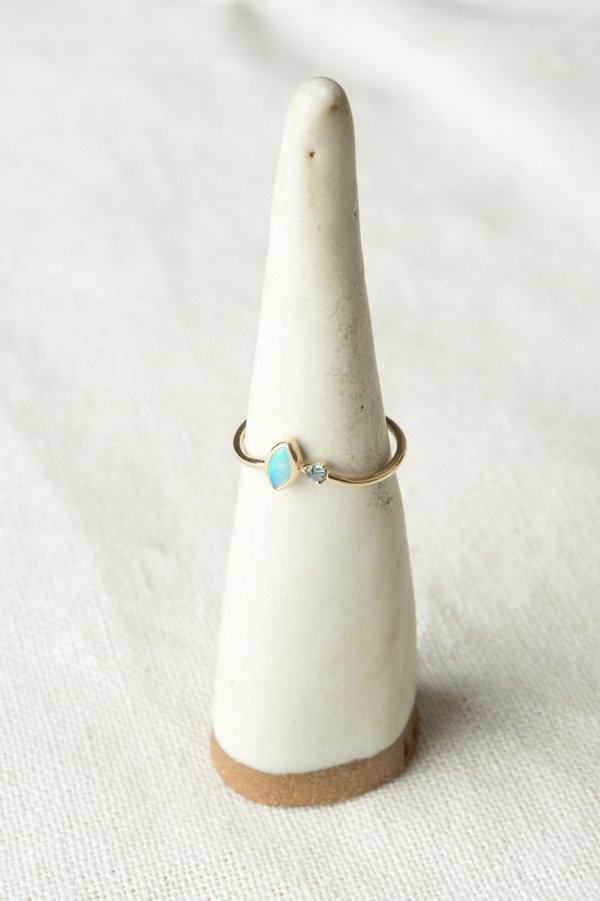 WWAKE Angled Opal and Sapphire Ring