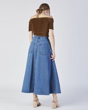 69 Cow person denim skirt
