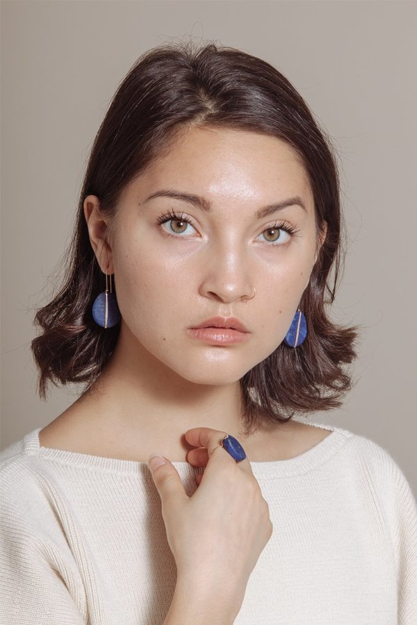 Mary MacGill Line Earrings in Lapis