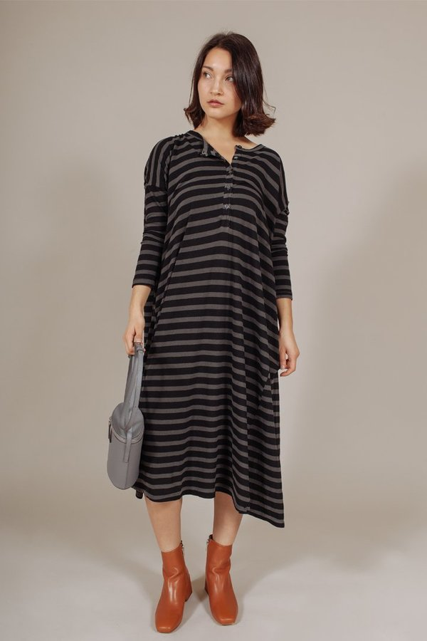The Great The Square Henley Dress in Charcoal Overdye Stripe