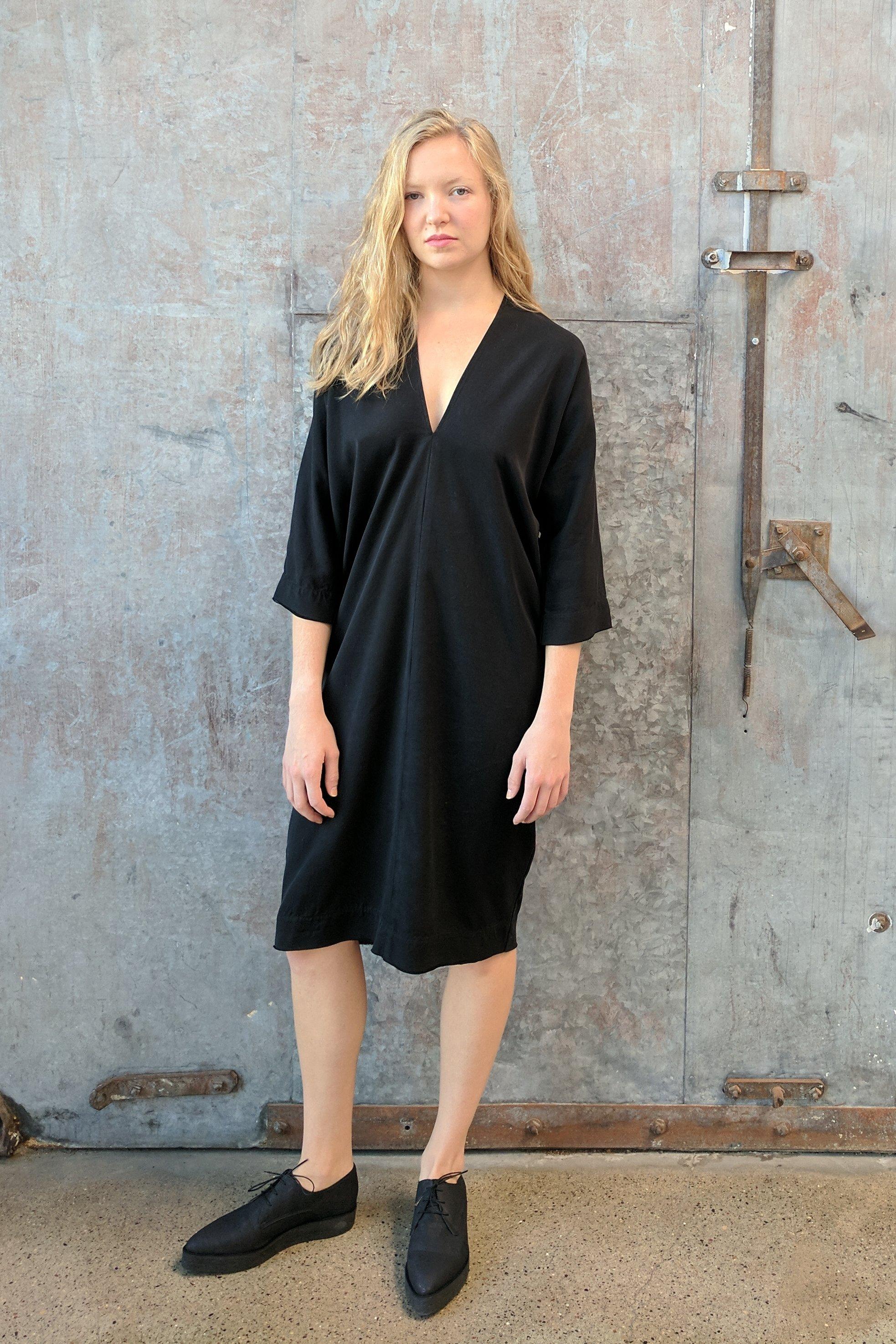 c337dfa1a Hackwith Design House Raw Finish Cocoon Dress // Black Tencel ...