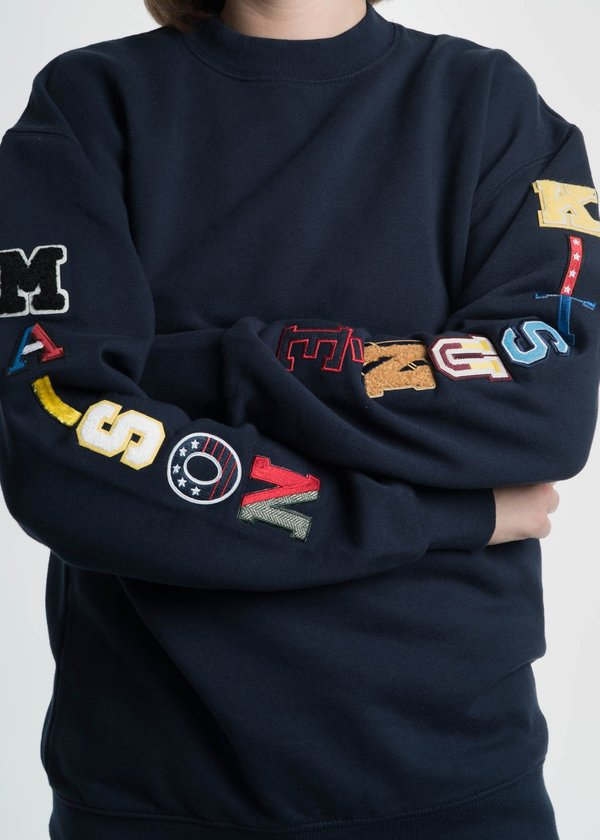 Maison Kitsune Navy Sweatshirt with Multi Patches