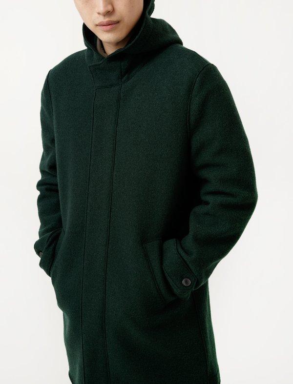 Harris Wharf Long Parka - Boiled Wool Racing Green