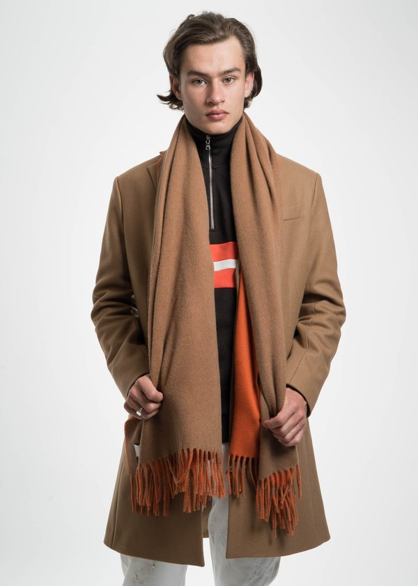 Harmony Orange and Camel Angel Wool Scarf