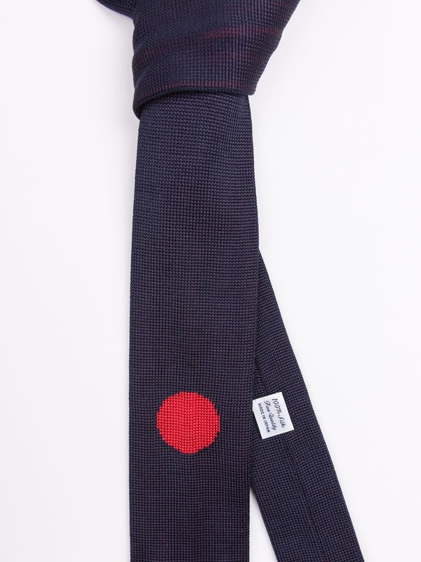 """Blue Blue Japan """"Hinomaru"""" Silk Knit Necktie - Navy"""
