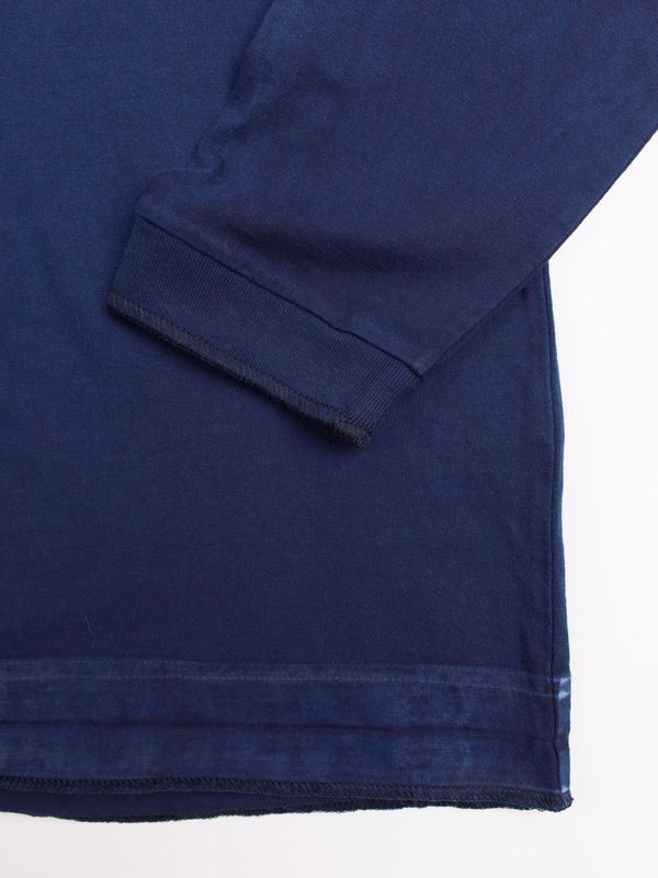 "Blue Blue Japan Indigo Hand Dyed Middle Weight Cotton ""Favourite"" Repaired LS Tee"