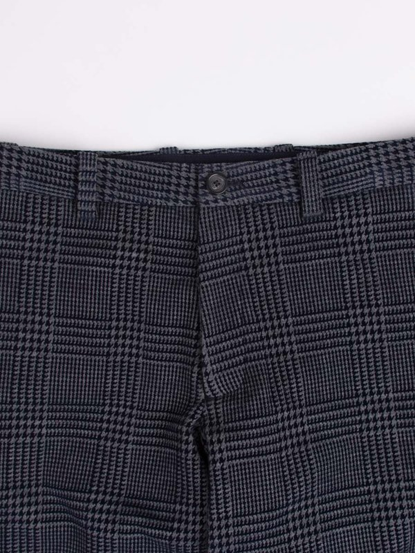 Blue Blue Japan Knitted Flocking Glen Check Wool Jersey Trousers