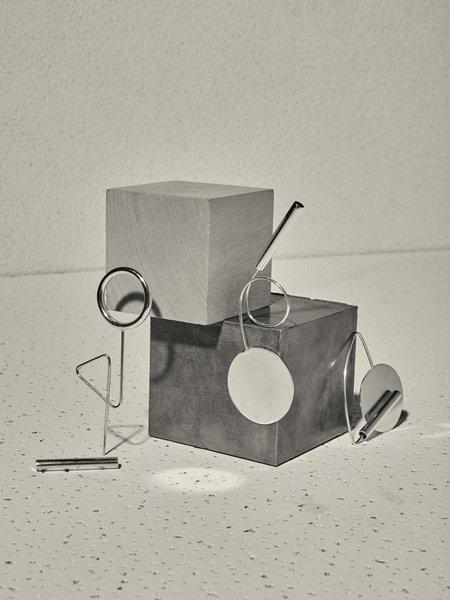 Unisex Ladies & Gentlemen Disc Loop Brooch - Silver