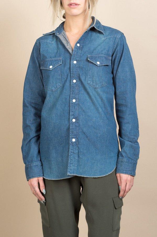 0540cb3f21 Unisex Chimala Nep Denim Western Shirt In Vintage Dark
