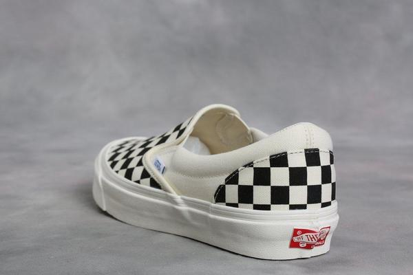 0d2247b0f8f376 Vans Vault Black   White Checkerboard OG Classic LX Slip-On