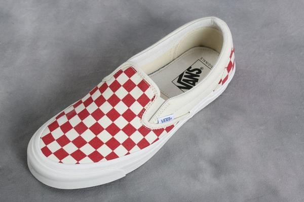 17967a77628338 Vans Vault Red   White Checkerboard OG Classic LX Slip-On. sold out. VANS