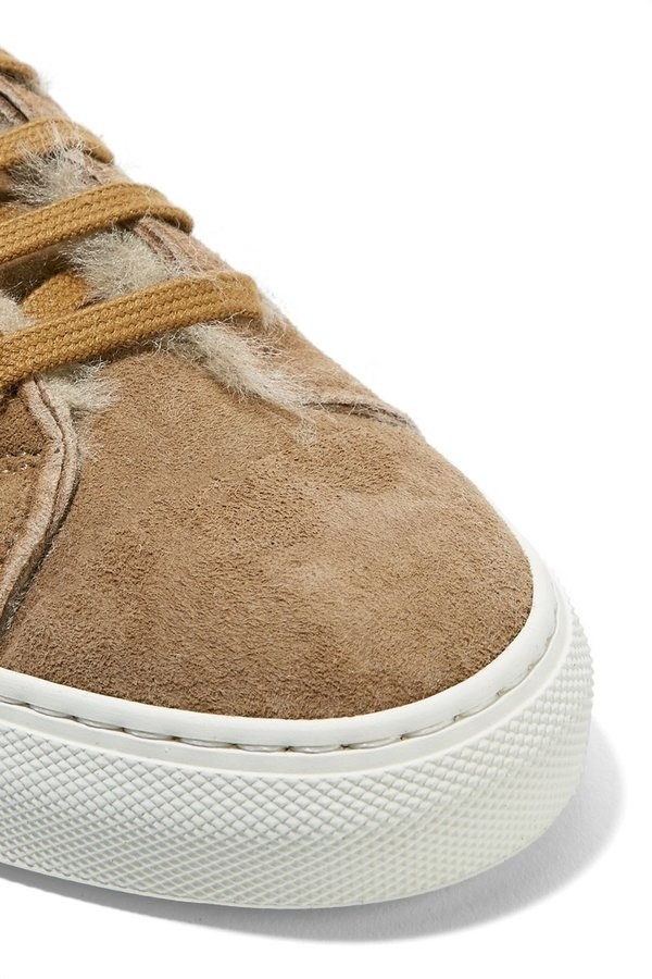 3355c4f3a806 Common Projects Tournament Suede and Shearling Top Sneakers   Garmentory