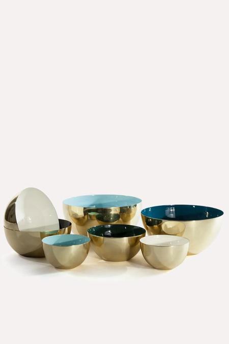 Hawkins New York Louise Medium Brass Bowl - White