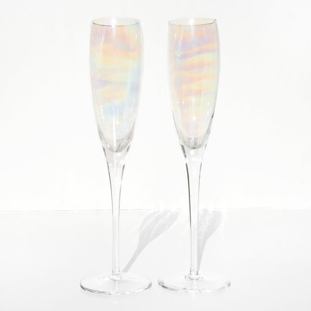 Vintage Kindred Black Tall Iridescent Champagne Flutes - Mother of Pearl