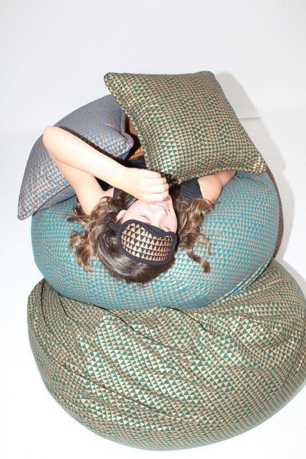 Beklina Lina Rennell Silk Noil Yardage - Copper/Triangle Black