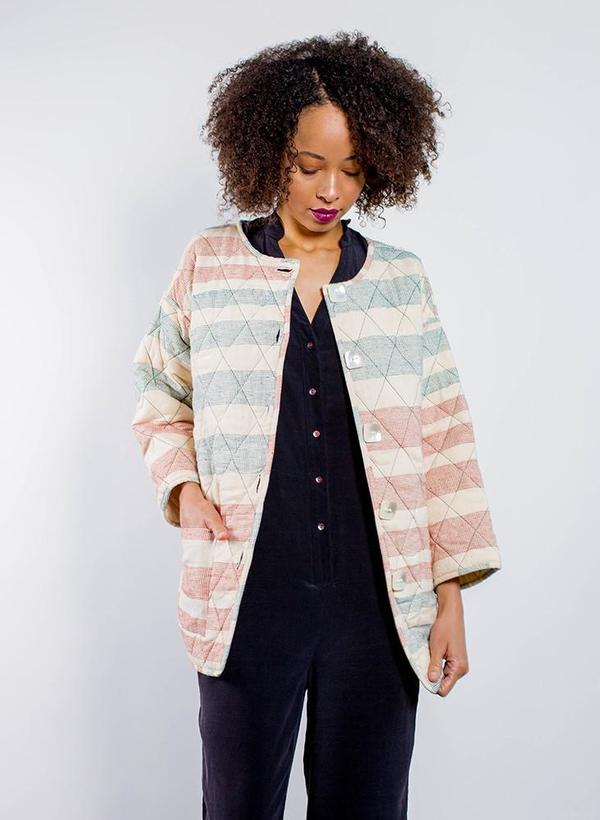 Seek Collective AM Quilted Coat - Ahilya stripe