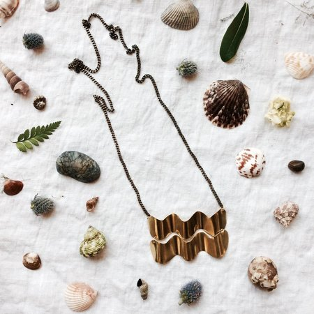 Sunday Feel Double Wave Necklace - Brass/Copper