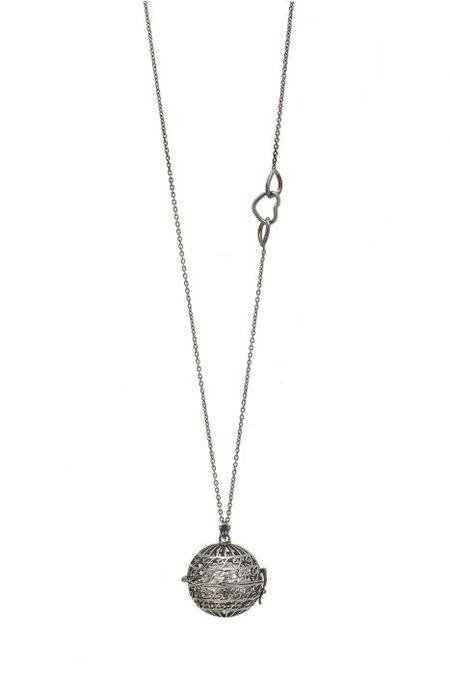 "Goyal Paris Futures Necklace Moms ""F"" - silver/black rodium/Iolite Violet"