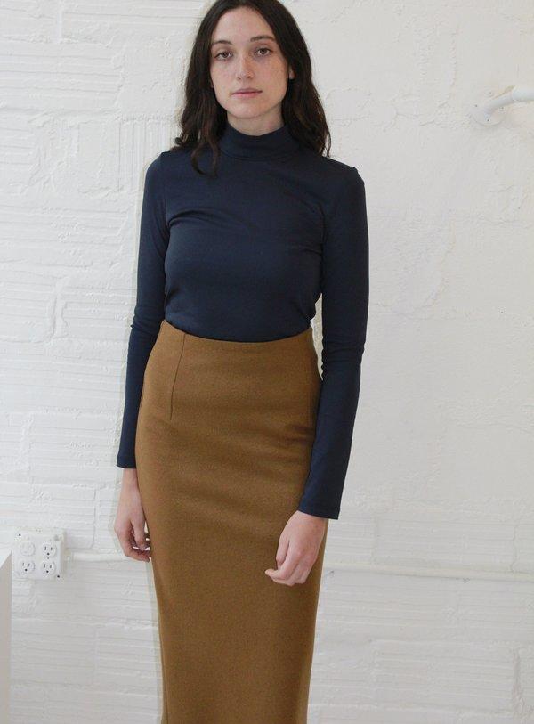Association Waltz Wool Jersey Straight Skirt - Camel