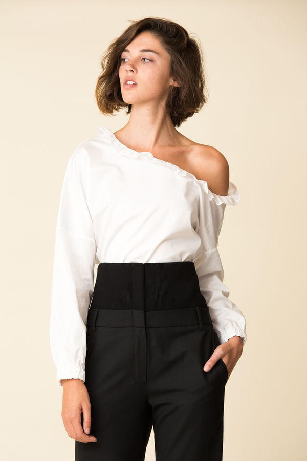 372f865d289 Tibi Satin Poplin One Shoulder Top | Garmentory