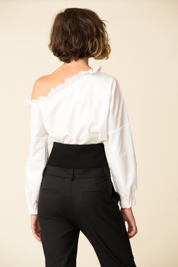 f842cfc6d81 Tibi Satin Poplin One Shoulder Top. sold out. Tibi