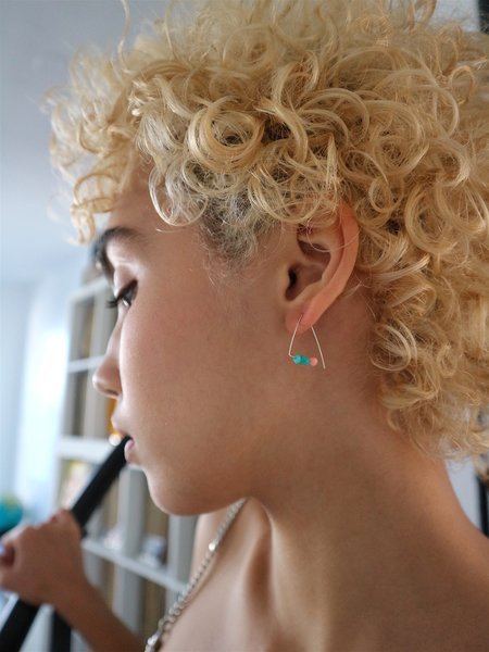 Melissa McArthur Petite Triangle Hoops - Silver