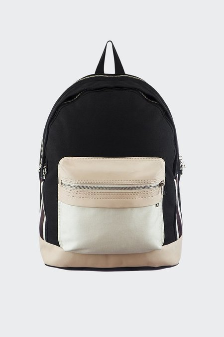 TAIKAN EVERYTHING Leather/Canvas Lancer Backpack - black/off white/tan