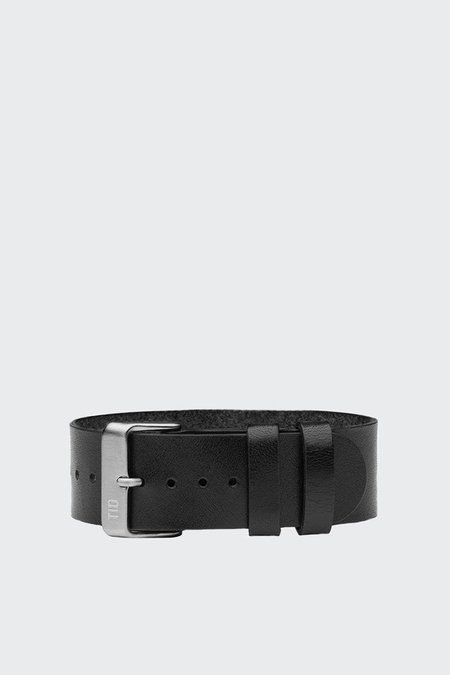 TID Watches Wristband - black leather/steel buckle