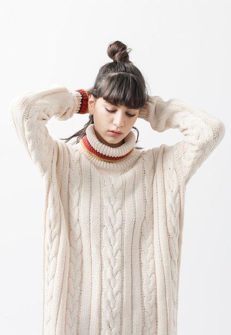 AGAIN Lotus Sweater Dress - cream