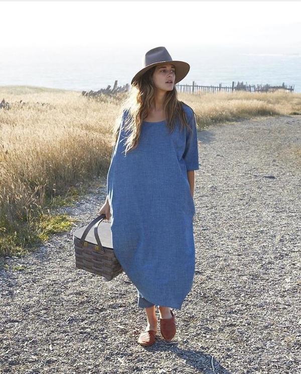ba86a8234f Rachel Craven Textiles Long Cocoon Dress - Chambray. sold out. Rachel Craven