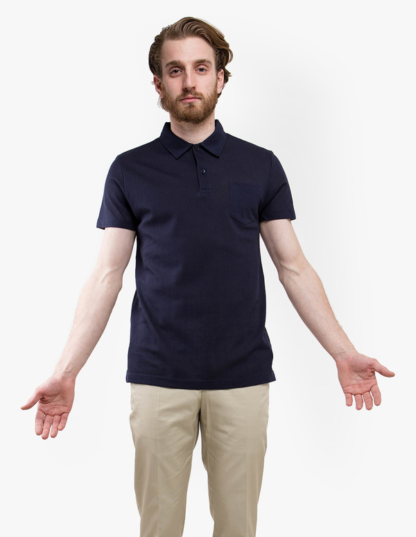 Sunspel Short Sleeve Riviera Polo - Navy