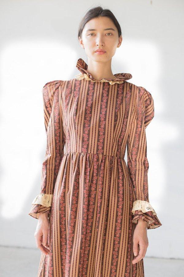 BATSHEVA Prairie Dress in Brown/Mustard Stripe