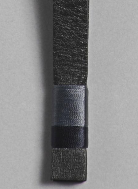 Unisex Grei Leather Key Fob Multicolor In Black