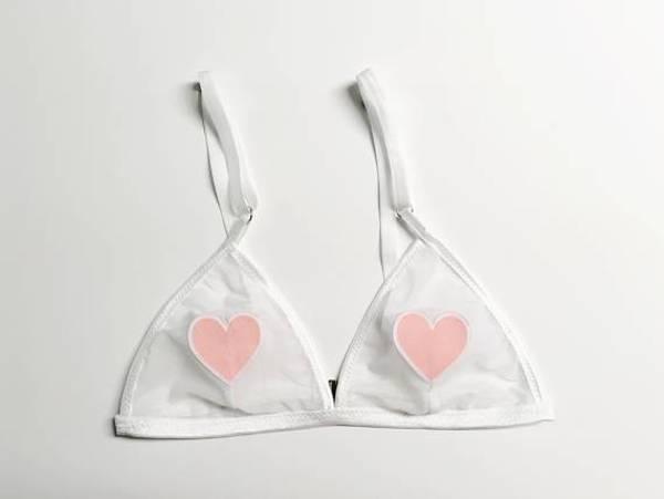 Jordan de ruiter triangle bralette hearts white mesh garmentory